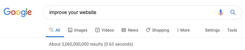 Google 搜索以改善您的网站的屏幕截图