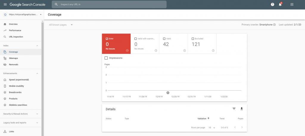 Google Search Console 中覆盖率报告的屏幕截图