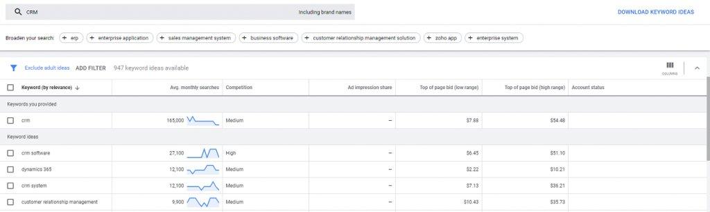 Google Ads 关键字规划器中针对特定搜索查询的统计数据的屏幕截图